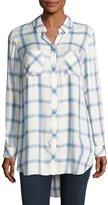 Go Silk Long-Sleeve Button-Front Plaid Shirt, Blue/White, Petite