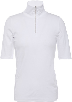 Vince Zip-detailed Pima Cotton-jersey Top