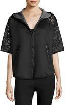 Elie Tahari Caitlyn Lace-Trim Performance Jacket, Black