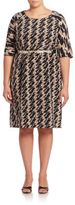 Marina Rinaldi, Plus Size Geometric Printed Belted Waist Dress