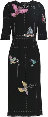 Dolce & Gabbana Appliqued Wool-crepe Midi Dress