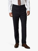 Jaeger Regular Fit Check Suit Trousers, Navy, Navy