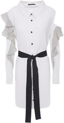 Maje Cold-shoulder Pinstriped Twill And Crepe De Chine Mini Dress