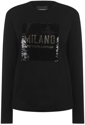 Emporio Armani Sequin Long Sleeve T-Shirt