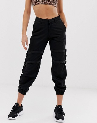 Motel cargo joggers with straps
