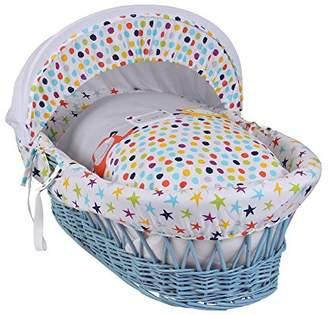Clair De Lune The Dudes Blue Wicker Moses Basket inc. bedding, mattress & adjustable hood
