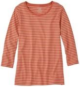 L.L. Bean L.L.Bean Women's Pima Cotton Shaped Tee, Three-Quarter-Sleeve Jewelneck Stripe