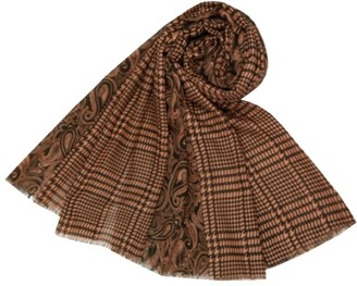 The Olive House Womens Dogtooth and Paisley Design Scarf Brown
