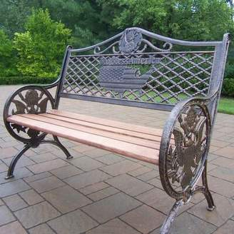 Oakland Living God Bless America Wood and Aluminum Park Bench Oakland Living Color: Antique Bronze, Material: Cast Iron