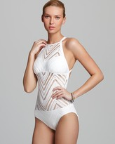 Robin Piccone Raquel Crochet High Neck One Piece Swimsuit