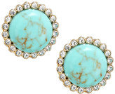 Lydell NYC Faux Turquoise & Crystal Button Earrings
