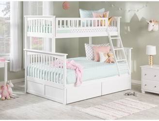 Harriet Bee Abel Twin Over Full Bunk Bed with Drawers Bed Frame Color: White