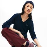 Lacoste Women's V-Neck Texturized Cotton Sweater