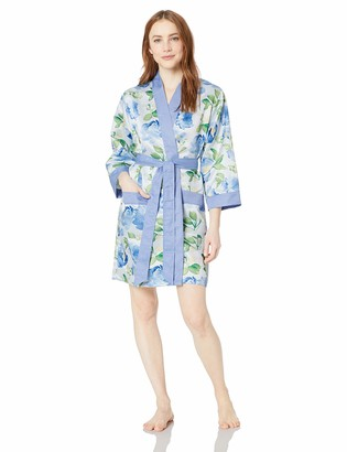Weddingstar Inc. Women's Premium Blue Floral Silky Kimono Robe Small/Medium