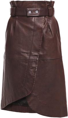 Ganni Pebbled-leather Wrap Skirt
