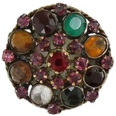 14K Yellow Gold & Multi-Color Gemstone Dome Harem Ring