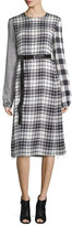 Calvin Klein Mixed-Plaid Long-Sleeve Dress, Black/White