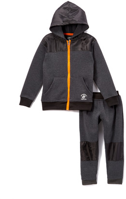 Beverly Hills Polo Club Boys' Casual Pants CHARCOAL - Charcoal Heather Zip-Up Hoodie Set - Infant & Toddler