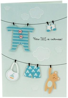 """Hallmark Congratulations """"Clothesline"""" Baby Boy Greeting Card"""