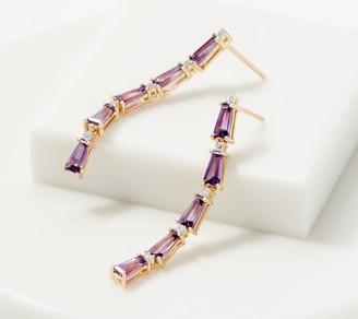 Baguette Gemstone & Diamond Drop Earrings, 1.80 cttw, 14K