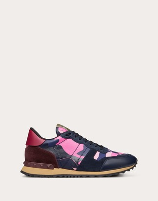 Valentino Garavani Uomo Camouflage Rockrunner Sneaker Man Navy Camo/pink 100% Pelle Di Vitello - Bos Taurus 40