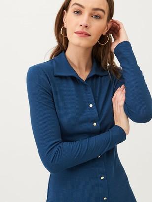 Very Button Through Collar Jersey Midi Dress - Navy