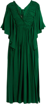 Rochas Ruffle-trimmed open-back silk dress