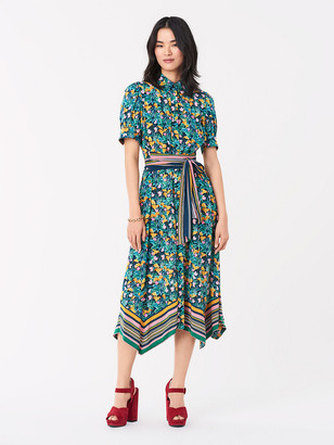 Diane von Furstenberg Kendyl Silk Crepe De Chine Midi Wrap Dress