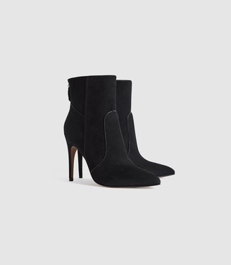 Reiss Enya - Suede Point Toe Heeled Ankle Boots in Black