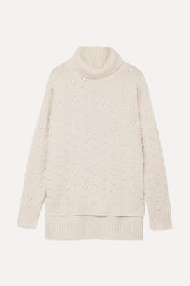 Lela Rose Bobble-knit Wool And Cashmere-blend Turtleneck Sweater - Off-white