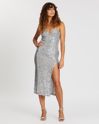 Topshop Sequin Keyhole Midi Dress