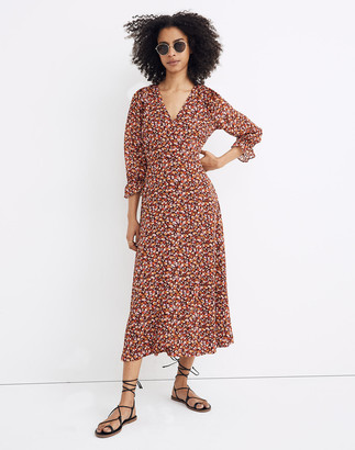 Madewell Petite Long-Sleeve Crossover Midi Dress in Clipdot Spring Prairie