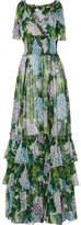 Dolce & Gabbana Ruffled Floral-print Silk-chiffon Gown - Green