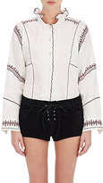 Etoile Isabel Marant Women's Delphine Embroidered Linen Peasant Top-NUDE