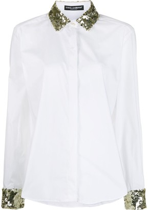 Dolce & Gabbana Sequin Embroidered Poplin Shirt