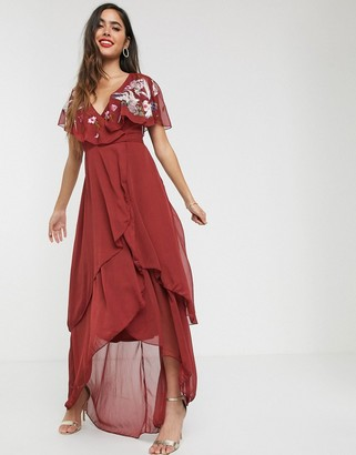 ASOS DESIGN maxi dress with cape back and dipped hem in embroidery