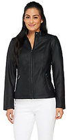 Dennis Basso Faux Leather Jacket with Stand Collar