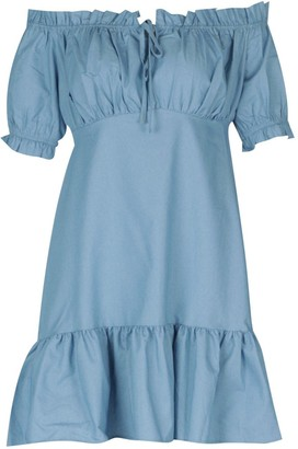 boohoo Chambray Bardot Puff Sleeve Mini Dress