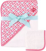 Baby Vision Hudson Baby® Lattice Hooded Towel and Washcloth Set in Pink