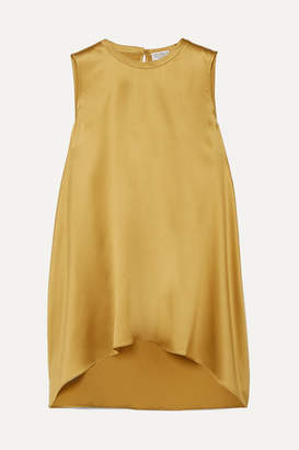 Brunello Cucinelli Bead-embellished Silk-blend Satin Top - Yellow