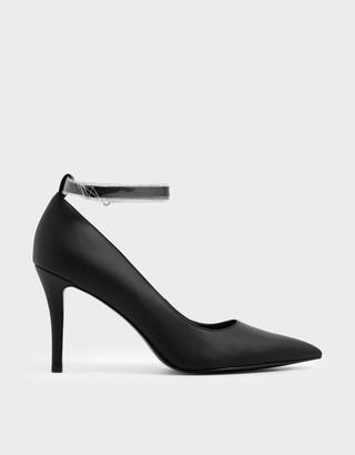 Charles & KeithCharles & Keith See-Through Effect Ankle Strap Stiletto Court Shoes