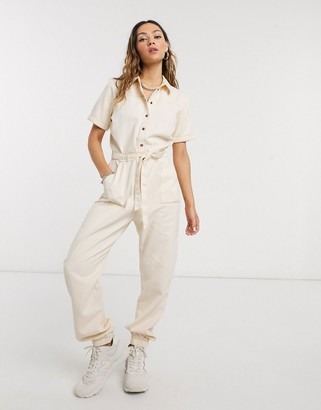 Noisy May utility jumpsuit in ecru