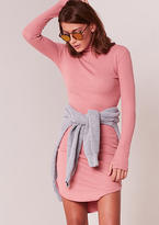 Missy Empire Becky Pink Roll Neck Ribbed Curved Hem Midi Dress