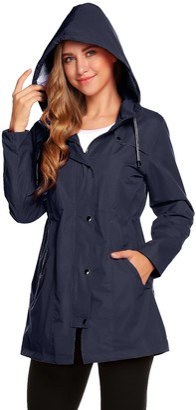 Romanstii Windbreaker Jacket Women Waterproof Navy Raincoat Ladies Summer Lined Rain Jacket Windproof Zipped Coats for Camping(Navy Blue L)