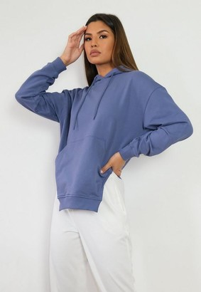 Missguided Blue Brushed Back Corset Cut Asymmetric Hoodie