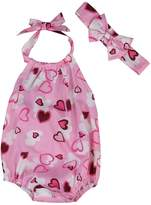 SAYOO Toddler Kids Girl Heart Printed Sleeveless Rompers Jumpsuit Overalls + Headband Outfits (12-18M)