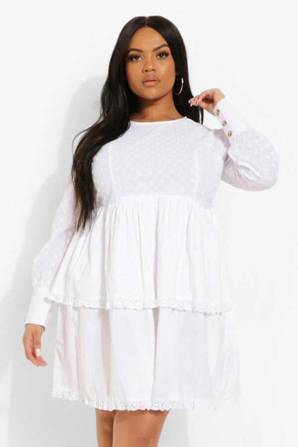 boohoo Plus Broderie Ruffle Tiered Skater Dress