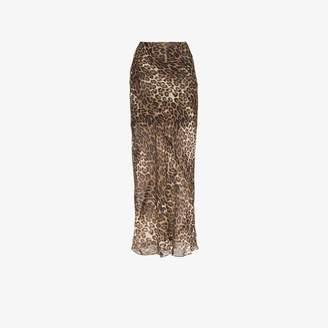 Nili Lotan Ella leopard print silk skirt