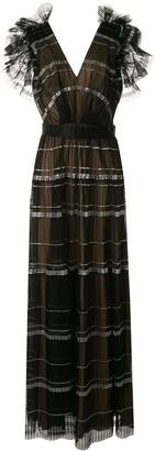 Tadashi Shoji Cape Sleeveless Pleated Paillettes Gown