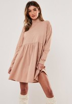 Missguided Taupe High Neck Smock Dress